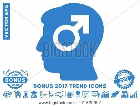 Cobalt Mind Potency pictogram with bonus 2017 year trend pictograms. Vector illustration style is flat iconic symbols white background.