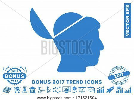 Cobalt Open Brain pictograph with bonus 2017 trend pictograms. Vector illustration style is flat iconic symbols white background.