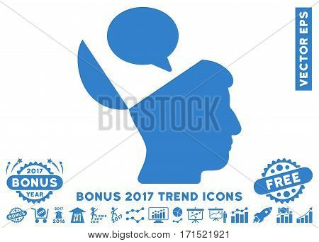 Cobalt Open Mind Opinion pictograph with bonus 2017 trend icon set. Vector illustration style is flat iconic symbols white background.