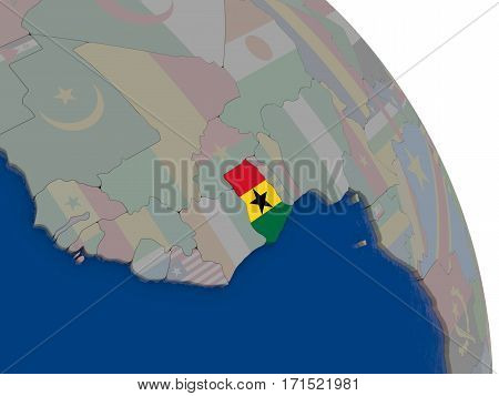 Ghana With Flag On Globe