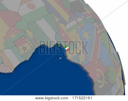 Equatorial Guinea With Flag On Globe