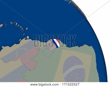 French Guiana With Flag On Globe