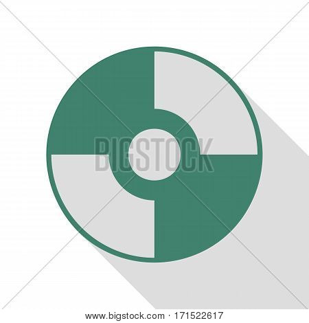 Vector CD or DVD sign. Veridian icon with flat style shadow path.