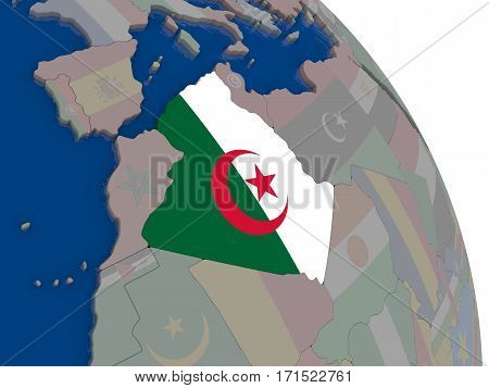 Algeria With Flag On Globe