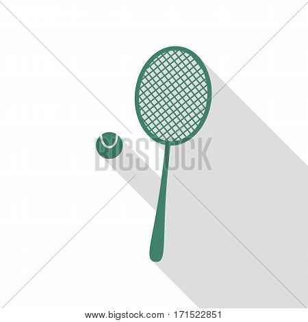 Tennis racquet sign. Veridian icon with flat style shadow path.