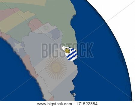 Uruguay With Flag On Globe
