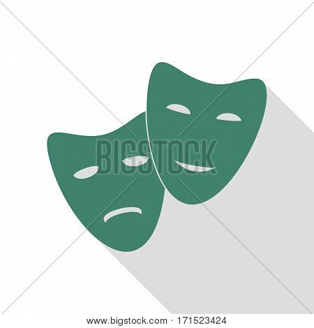 Theater icon with happy and sad masks. Veridian icon with flat style shadow path.