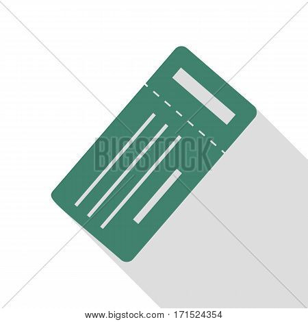 Ticket simple sign. Veridian icon with flat style shadow path.