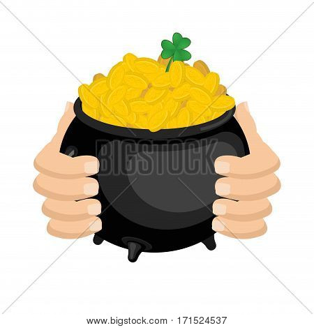 Gold Leprechaun. St. Patrick's Day National Holiday In Ireland. Pot Of Golden Coins. Traditional Iri