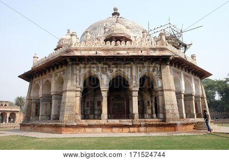 DELHI, INDIA - FEBRUARY 13: Isa Khan tomb, Humayun's tomb complex, Delhi, India on February 13, 2016