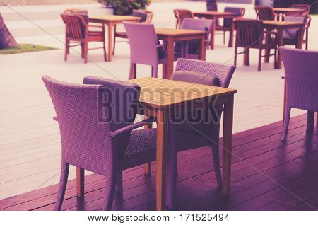 Interior wood chair in cafe outdoor .