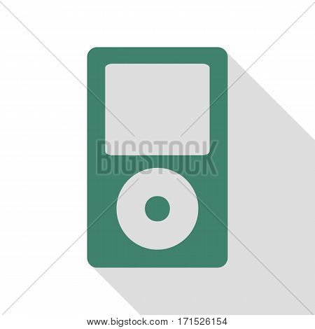 Portable music device. Veridian icon with flat style shadow path.