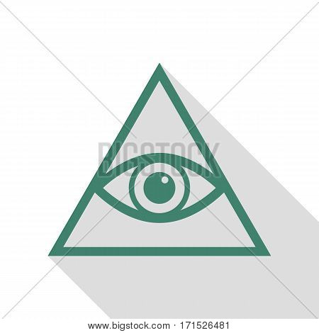 All seeing eye pyramid symbol. Freemason and spiritual. Veridian icon with flat style shadow path.