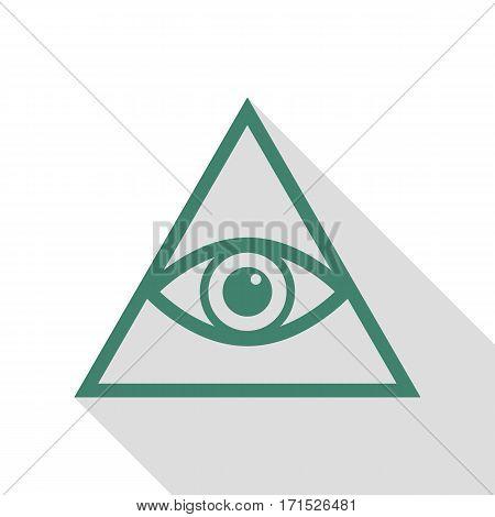 All seeing eye pyramid symbol. Freemason and spiritual. Veridian icon with flat style shadow path.