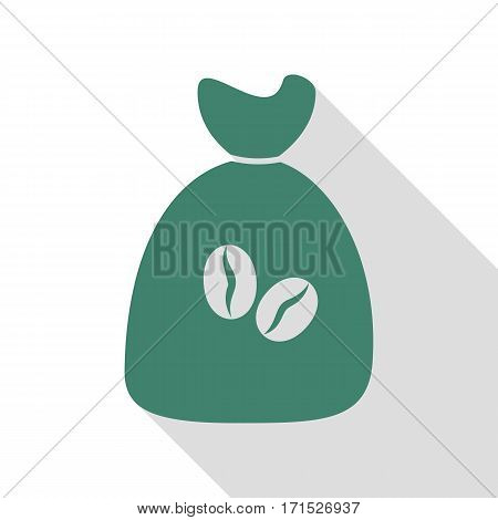 Coffee bag Icon. Coffee bag Vector. Coffee bag Icon Button. Veridian icon with flat style shadow path.