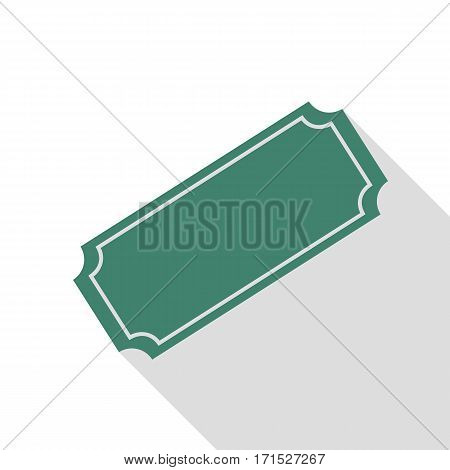 Ticket sign illustration. Veridian icon with flat style shadow path.