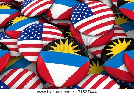Usa And Antigua And Barbuda Badges Background - Pile Of American And Antiguan Or Barbudan Flag Butto