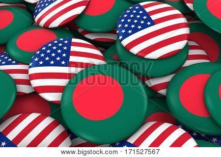 Usa And Bangladesh Badges Background - Pile Of American And Bangladeshi Flag Buttons 3D Illustration