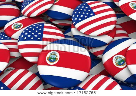Usa And Costa Rica Badges Background - Pile Of American And Costa Rican Flag Buttons 3D Illustration