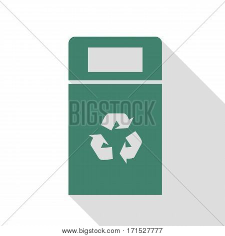 Trashcan sign illustration. Veridian icon with flat style shadow path.