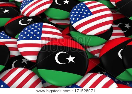 Usa And Libya Badges Background - Pile Of American And Libyan Flag Buttons 3D Illustration