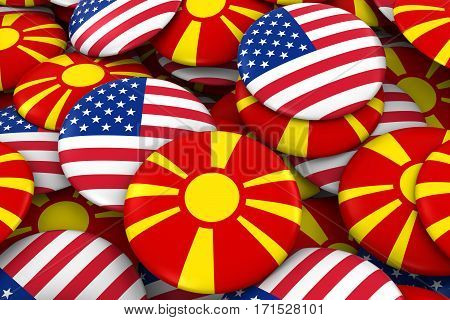 Usa And Macedonia Badges Background - Pile Of American And Macedonian Flag Buttons 3D Illustration