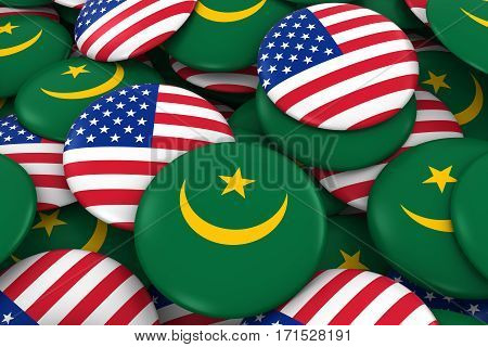Usa And Mauritania Badges Background - Pile Of American And Mauritanian Flag Buttons 3D Illustration
