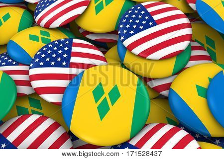Usa And Saint Vincent And The Grenadines Badges Background - Pile Of American And Vincentian Flag Bu