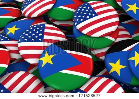 Usa And South Sudan Badges Background - Pile Of American And South Sudanese Flag Buttons 3D Illustra