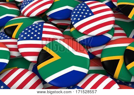 Usa And South Africa Badges Background - Pile Of American And South African Flag Buttons 3D Illustra