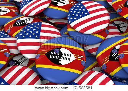 Usa And Swaziland Badges Background - Pile Of American And Swazi Flag Buttons 3D Illustration