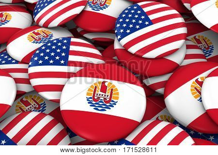 Usa And Tahiti Badges Background - Pile Of American And Tahiti Flag Buttons 3D Illustration