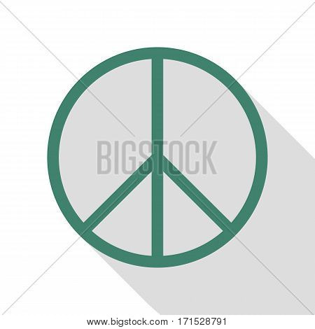 Peace sign illustration. Veridian icon with flat style shadow path.