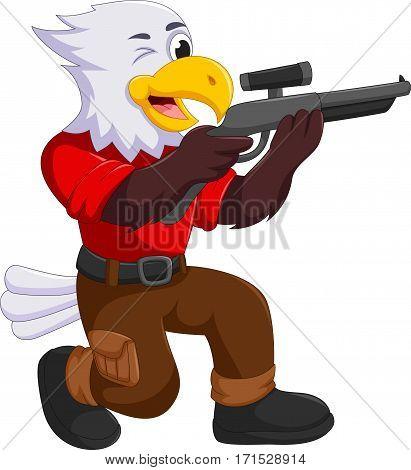 funny eagle cartoon shooting for you design