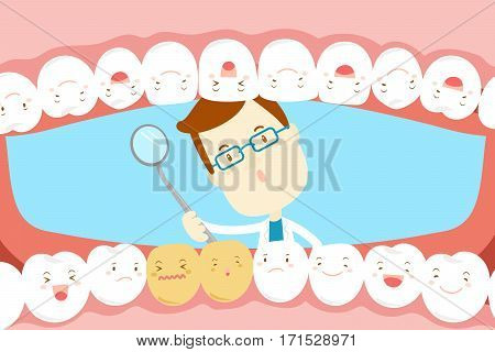 cute cartoon dentist check tooth with decay problem