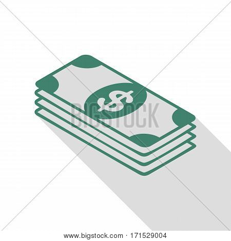 Bank Note dollar sign. Veridian icon with flat style shadow path.
