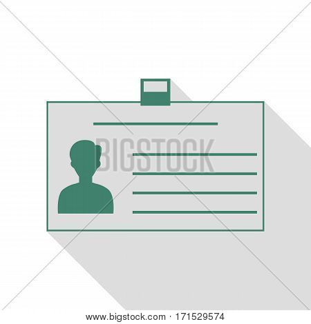Identification card sign. Veridian icon with flat style shadow path.
