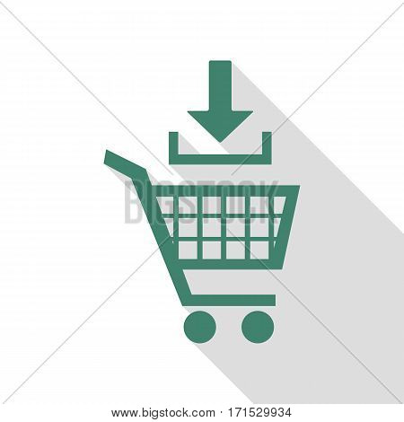 Add to Shopping cart sign. Veridian icon with flat style shadow path.