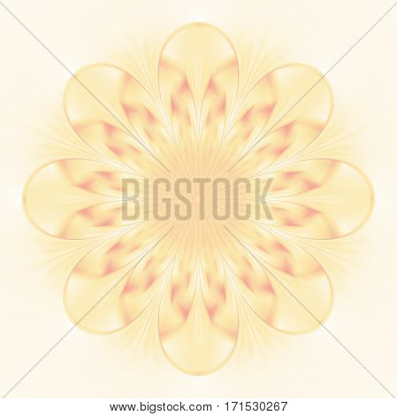 Abstract Exotic Flower. Psychedelic Mandala Design In Beige Colors. Fantasy Fractal Art. 3D Renderin