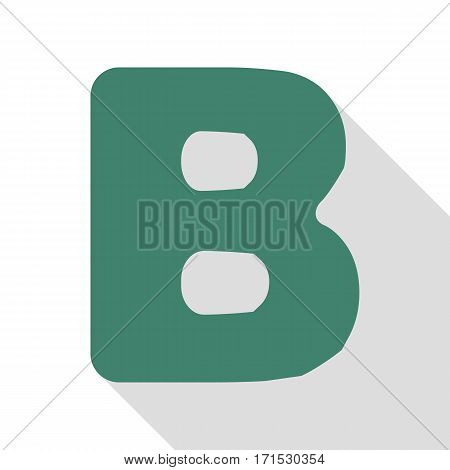 Letter B sign design template element. Veridian icon with flat style shadow path.