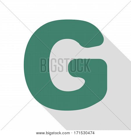 Letter G sign design template element. Veridian icon with flat style shadow path.