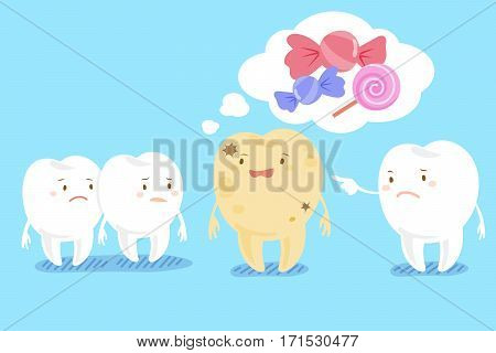 cute cartoon health tooth with decay problem