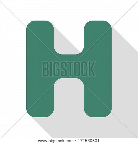 Letter H sign design template element. Veridian icon with flat style shadow path.