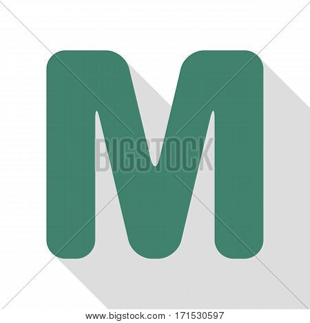 Letter M sign design template element. Veridian icon with flat style shadow path.