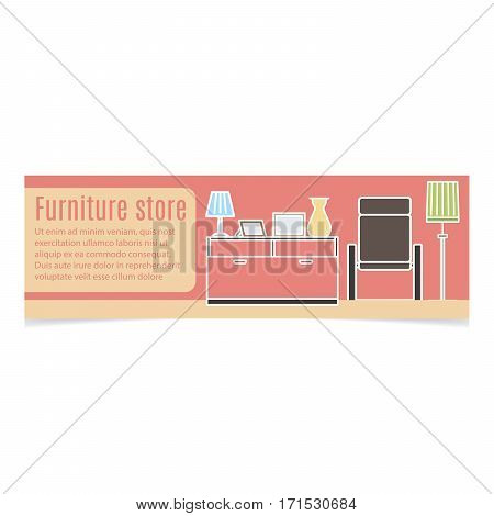 Furniture horizontal banner with white contour and pink background. Vector illustration
