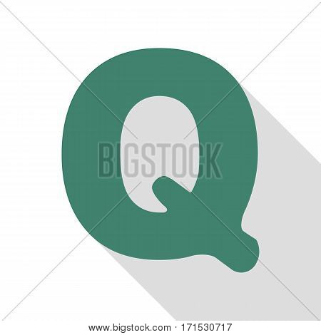 Letter Q sign design template element. Veridian icon with flat style shadow path.