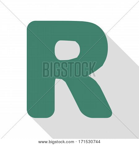 Letter R sign design template element. Veridian icon with flat style shadow path.