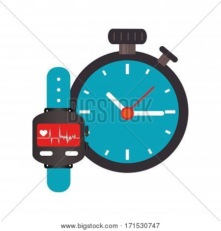 colorful watch with screen Heartbeat monitoring and Stopwatch vector illustration