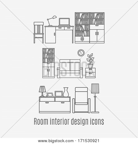 Line art room interior icons set. Vector illustration on white background