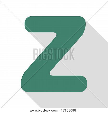 Letter Z sign design template element. Veridian icon with flat style shadow path.